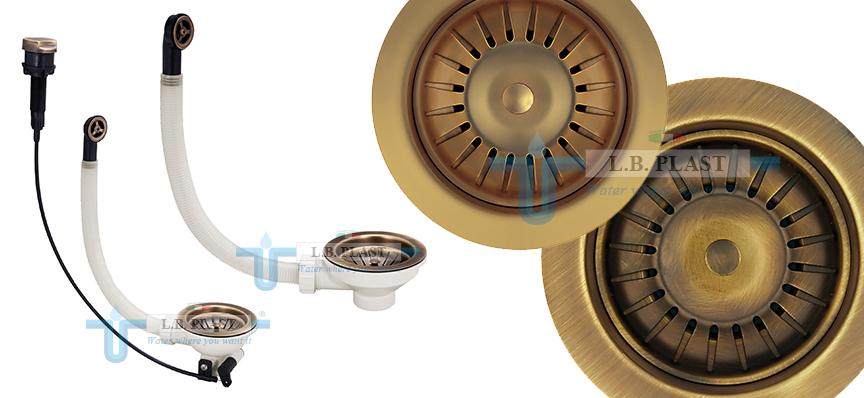 Brass basket wastes for kitchen sinks - L.B. Plast