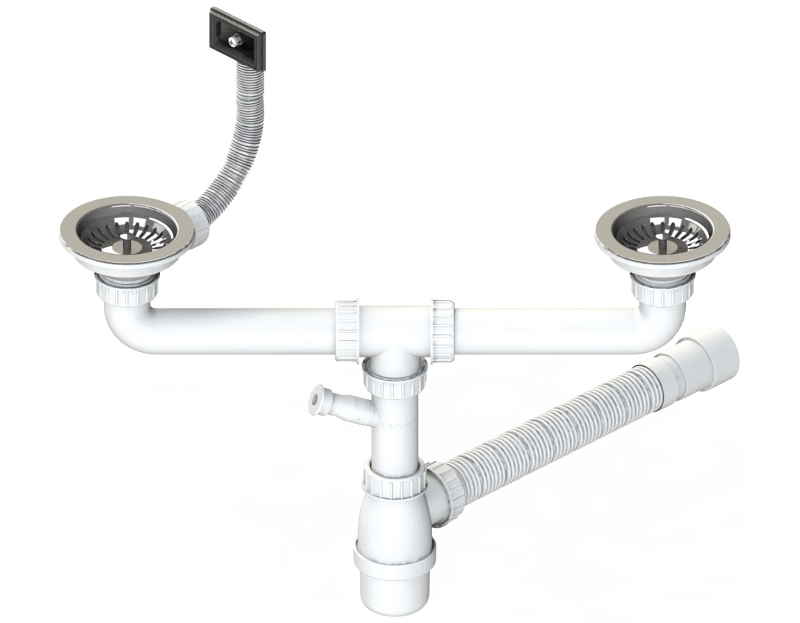 Plumbing Kit For Two Bowls Kitchen Sink O114 Multi Ray Basket Strainer Wastes Rectangular Overflow And Bottle Trap With Dishwasher Connection And Flexible Hose Code 641 R 195 Al Tp Plumbing Sets With O114 Waste Plumbing Sets
